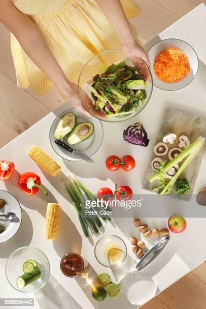 Healthy food being prepared on table