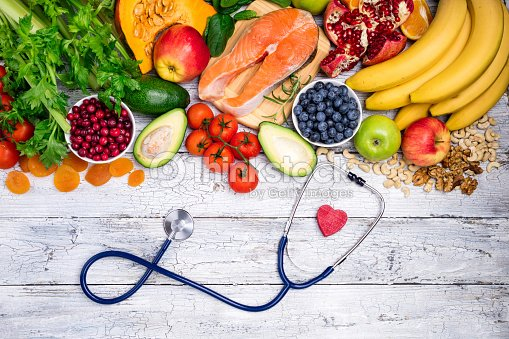 Healthy food for heart. Fresh fish, fruits, vegetables, berries and nuts. Healthy food, diet and healthy heart concept : Stock Photo