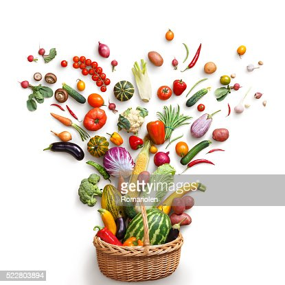 Healthy food in basket. : Stock Photo