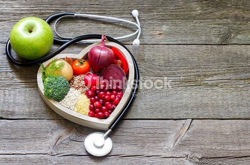Gesunde Speisen im Herzen und Cholesterin Diät-Konzept : Stock-Foto