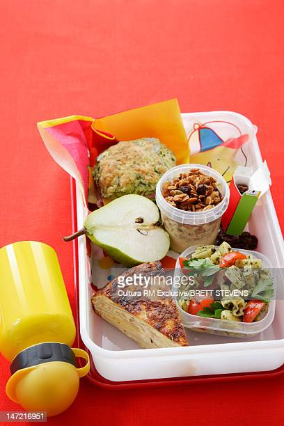 Healthy food packed into lunch box