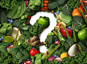 Healthy food questions as a concept for green diet as a group of fresh fruit vegetables nuts beans and berries in the shape of a question mark as a symbol of good high fiber eating and information on