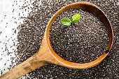Healthy food, sources omega-3 - chia seed, top view close-up on wooden spoon