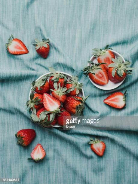 Healthy food still life fresh strawberries