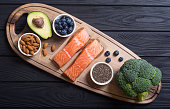 Healthy food with salmon , berries , vegetables and nuts. Superfood