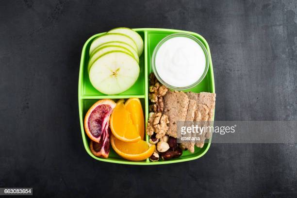Healthy fruits and nuts snack box