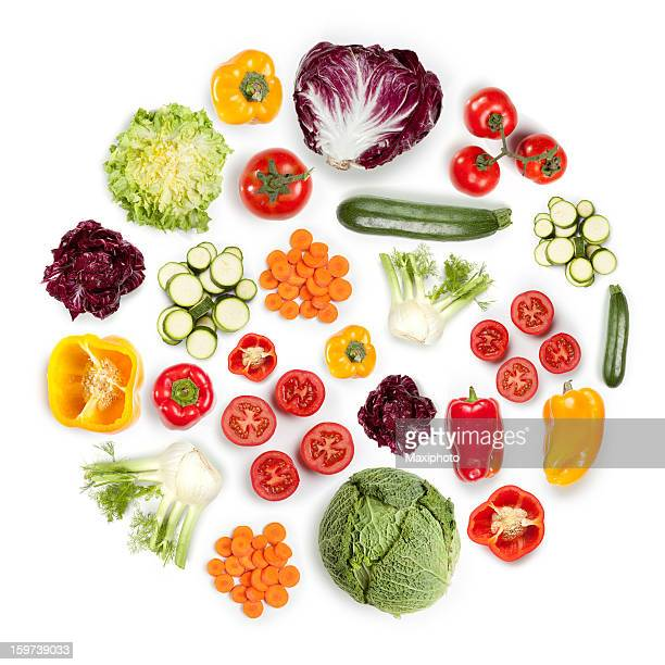 Healthy Fruits and Vegetables in round shape on white background