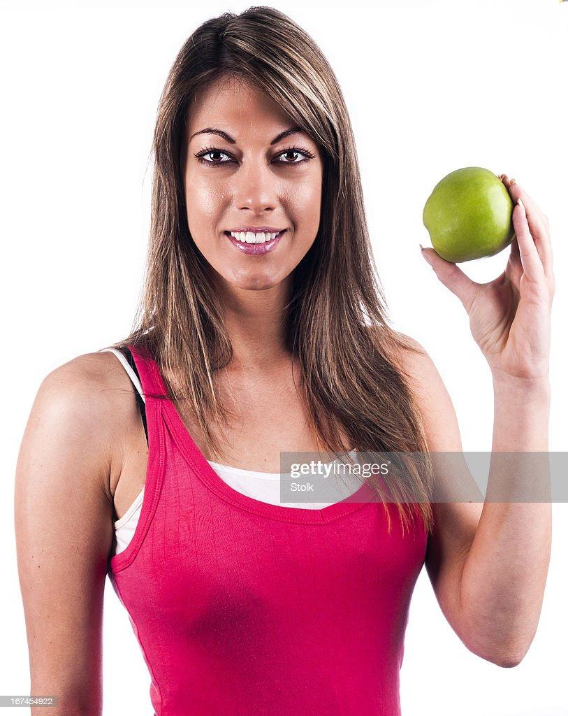 Healthy green apple : Stock Photo