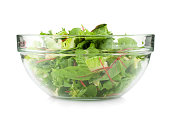 Healthy green salad. Isolated on white background