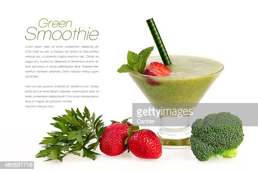 Healthy Green Smoothie with Fresh Fruit and Vegatables Isolated : Stock Photo
