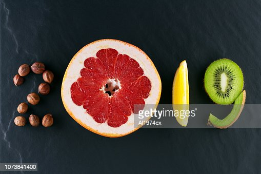 Healthy holidays food and diet. New year's 2019 decisions about a healthy lifestyle : Stock Photo