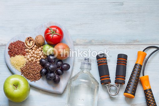 Healthy lifestyle concept with diet and fitness : Stock Photo