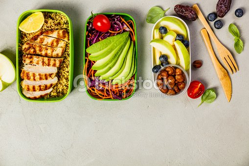 Healthy lunch in boxes : Stock Photo