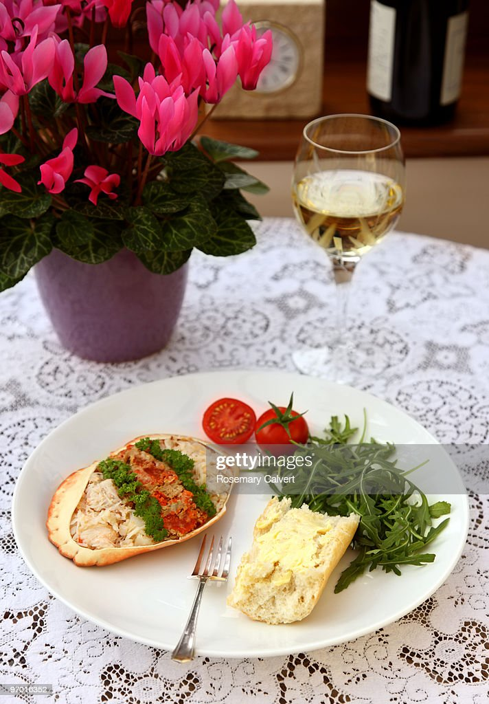 Healthy meal of fresh crab meat, salad and bread. : Stock Photo