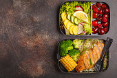 Healthy meal prep containers with grilled chicken with fruits, berries, rice and vegetables. Takeaway food jn dark background, top view