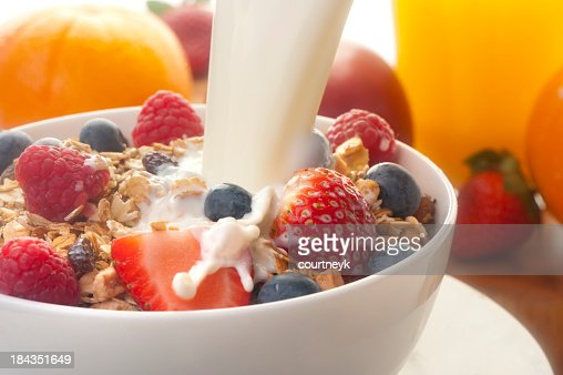 Healthy muesli breakfast with milk