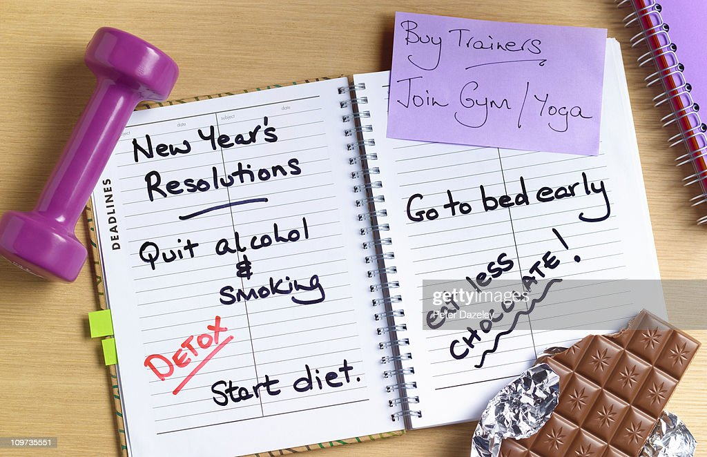 Healthy new years resolutions diary : Stock Photo