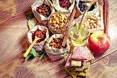 Healthy organic food, healthy vegetarian food on wooden table