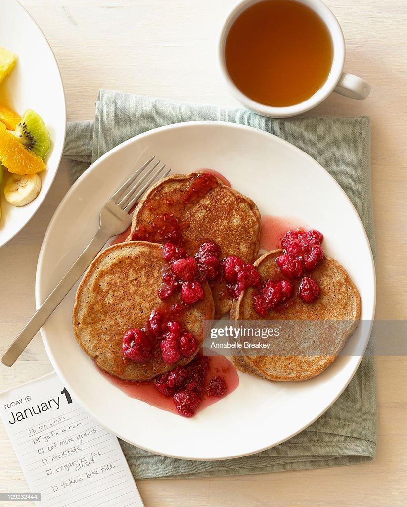 Healthy Pancakes, Fruit Salad, Green Tea Breakfast : Stock Photo