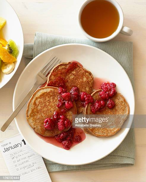 Healthy Pancakes, Fruit Salad, Green Tea Breakfast
