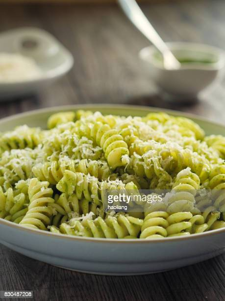 Healthy Pasta with green pesto sauce
