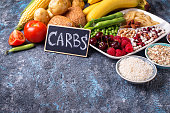 Food sources of carbohydrates. Cereals, beans, fruits, vegetables, berries, nuts and bread.