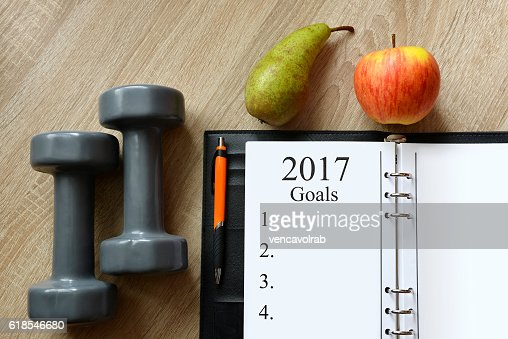 Healthy resolutions for the New Year 2017. : Stock Photo