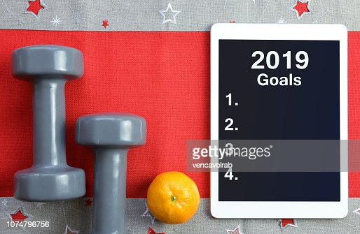 Healthy resolutions for the New Year 2019. : Stock Photo