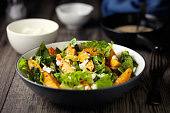 Home made freshness roasted sweet potatoes, cos lettuce and feta cheese flakes, pumpkin seeds