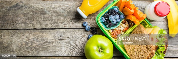 Healthy school lunch box : Stock Photo