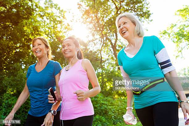 Healthy senior women exercise in park