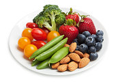 Healthy snack plate with fruit, vegetables and nuts