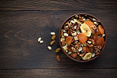 Healthy snacks in bowl on wooden background. Dried fruits and nuts. Top view, copy space.