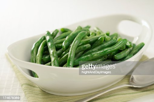 Healthy Steamed Green Beans in White Serving Bowl