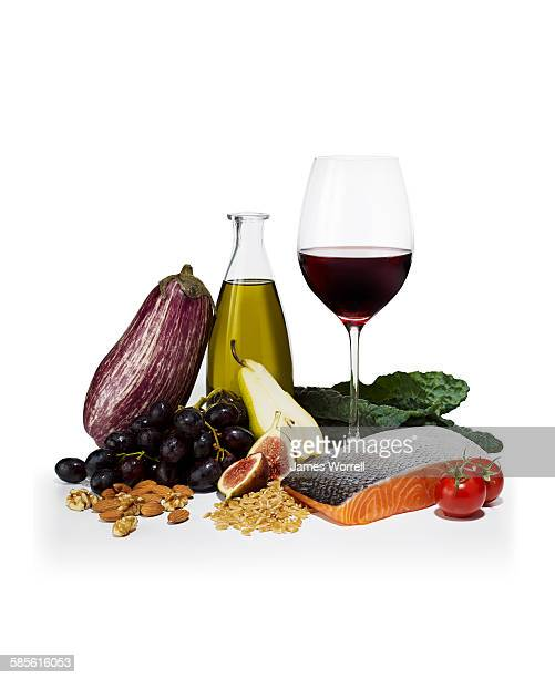 Healthy Still Life with Eggplant, Wine and Fish