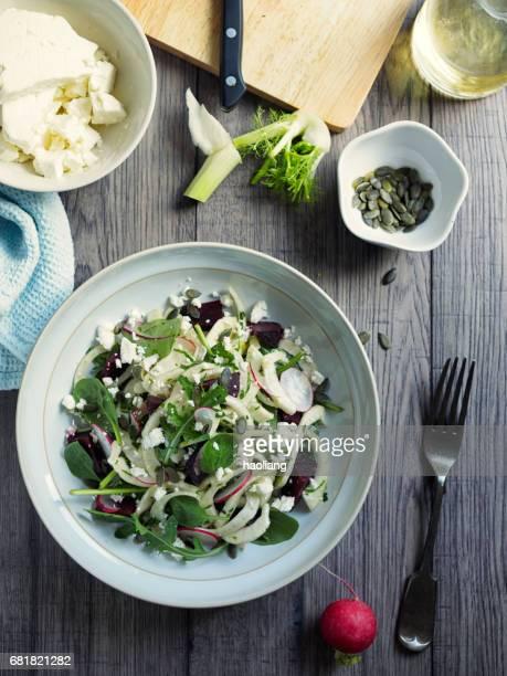 Healthy summer fennel beetroot salad