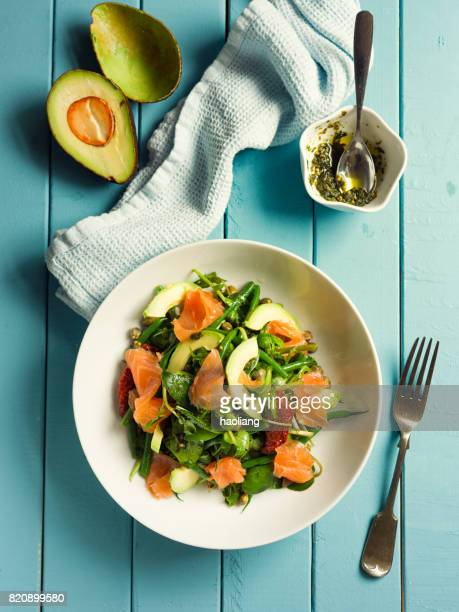 Healthy summer salad with smoke salmon