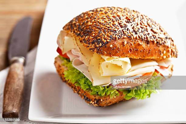 healthy turkey cheese and salad sandwich
