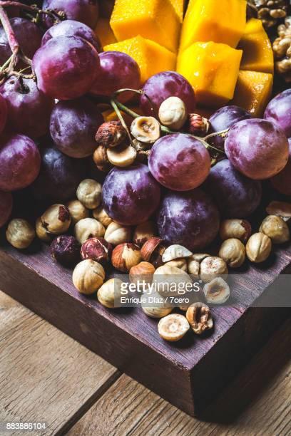 Healthy Vegan Snack Board Grapes Close Up
