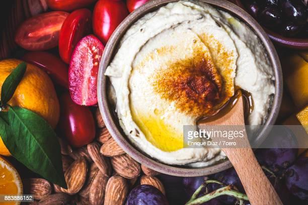 Healthy Vegan Snack Board Hummus Close Up