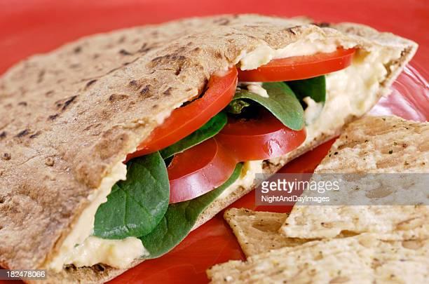 Healthy Vegetarian Vegan Pita with Hummus and Veggies, Red Plate