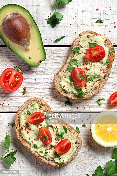 Healthy whole grain bread with avocado