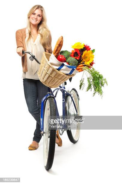 Healthy Woman Bicycling for Grocery Shopping on White Background Vt