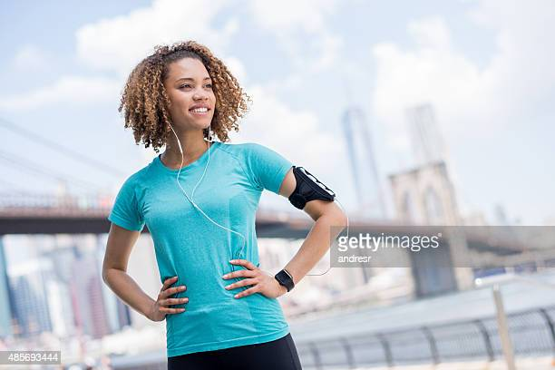 Healthy woman running outdoors