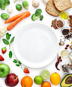 Healty eating, vegatables, fruits, empty plate, clipping path