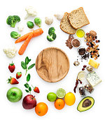 Healty eating, vegatables, fruits, empty wooden plate, clipping path