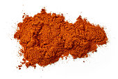 heap of chili powder isolated on white background, top view