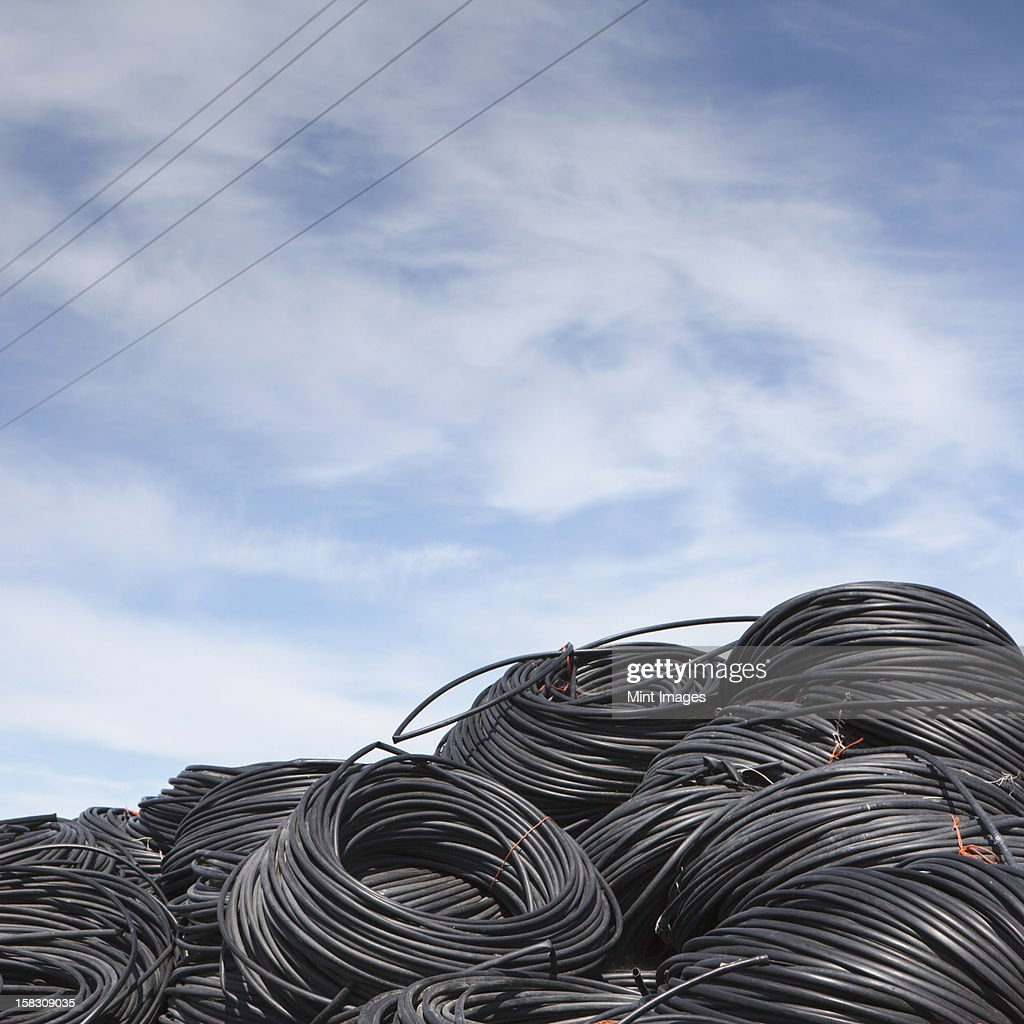 Heap of coiled plastic irrigation tubing. : Stock Photo