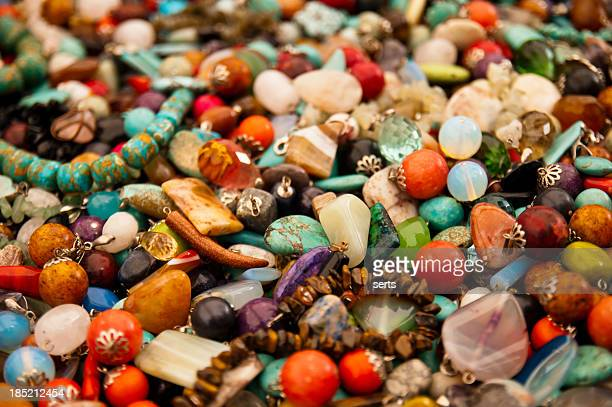 Heap of colorful bright stone jewelry
