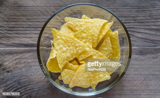 Heap of corn chips in the glass bowl : Stock Photo